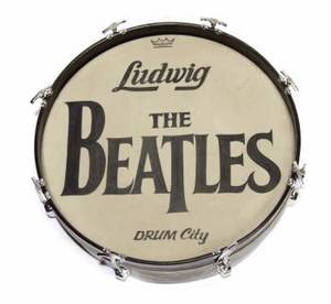 BEATLES BASS 1964 DRUM HEAD FROM MADAME TUSSAUDS