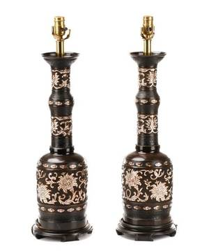 Pair of Japanese Bronze  Cloisonne Lamps