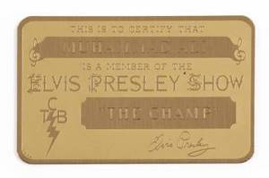 ELVIS PRESLEY GOLD ID BADGE GIVEN TO MUHAMMAD ALI