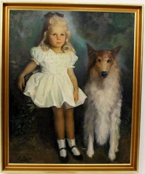 American 20th C Portrait Of Girl And Dog Signed