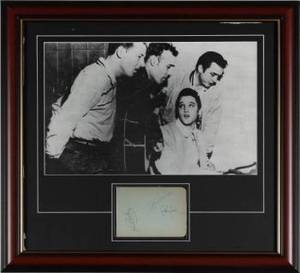 ELVIS PRESLEY JOHNNY CASH AND CARL PERKINS SIGNED CUT SHEET