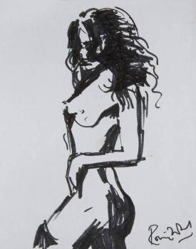 RONNIE WOOD SKETCH OF A FEMALE NUDE