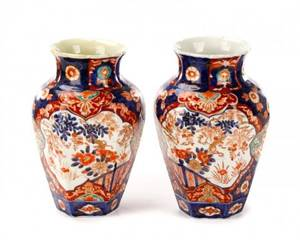 Pair of Japanese Imari Porcelain Vases 19th C