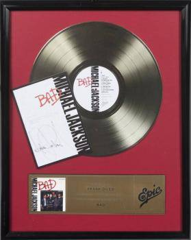 MICHAEL JACKSON SIGNED BAD RECORD AWARD