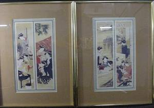 3384 Pair of Japanese Prints on Raw Silk Unsigned Ve