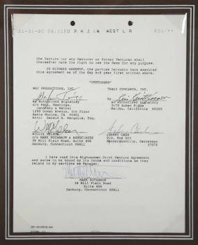 JOHNNY CASH AND WILLIE NELSON SIGNED DOCUMENT