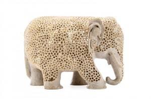 Large Jali Soapstone Carved Elephant Sculpture