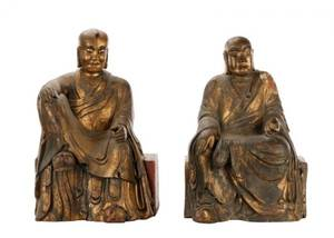 Pair of Chinese Carved Giltwood Seated Figures