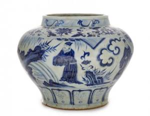 Chinese Blue  White Porcelain Jar Figural Scene