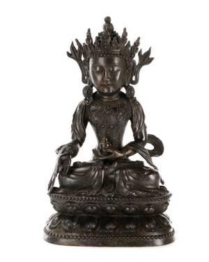 SinoTibetan Guanyin Bronze Figural Sculpture