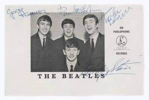 THE BEATLES SIGNED PROMOTIONAL CARD