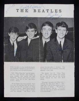 THE BEATLES SIGNED PROGRAM PAGE