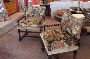 SET OF SIX NEEDLEPOINT UPHOLSTERED ARMCHAIRS