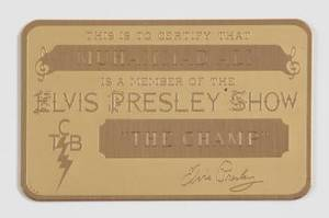 ELVIS PRESLEY GOLD ID CARD GIVEN TO MUHAMMAD ALI