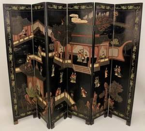 Six Panel Oriental Decorated Screen