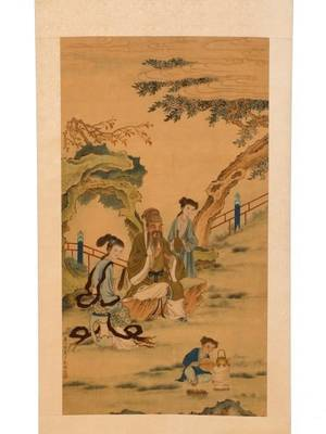 Chinese Scroll Painting on Silk Figures in Garden
