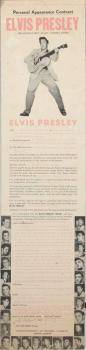 ELVIS PRESLEY PERSONAL APPEARANCE JOKE CONTRACT