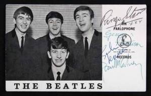 THE BEATLES SIGNED PROMOTIONAL FLYER