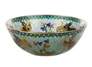 Chinese Plique a Jour Bowl with Rabbits  Deer