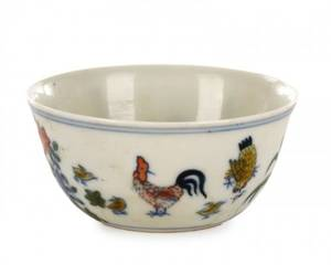 Chinese Wucai Enamel Cockerel Tea Cup