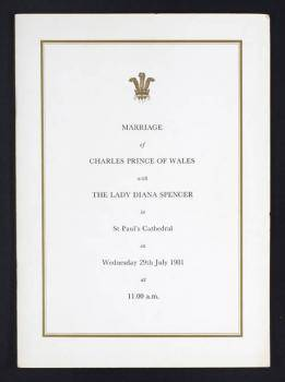 LADY DIANA SPENCER AND PRINCE CHARLES WEDDING PROG