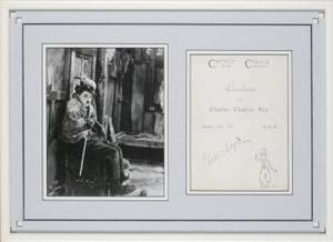 CHARLIE CHAPLIN SIGNED CUT SHEET  PUBLICITY STILL
