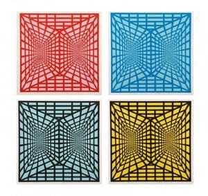 4 Unframed Roy Ahlgren Stereopsis Serigraphs