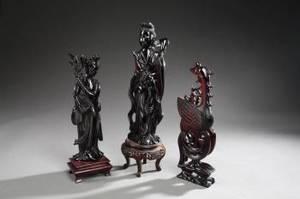 GROUP OF THREE CHINESE BLACK HARDSTONE FIGURINES