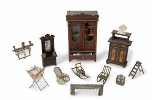 GROUP OF VICTORIAN BRONZE AND OTHER DOLLHOUSE FURNITURE