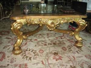 A BAROQUE STYLE GILTWOOD LOW TABLE