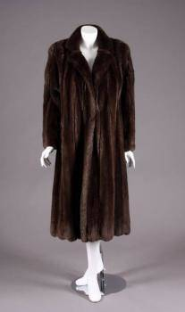 ANN MILLER BROWN CHINCHILLA FUR COAT