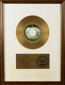 BEATLES GOLD WHITE MAT RECORD AWARD FOR HEY JUDE