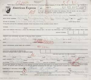 ELVIS PRESLEY SIGNED CREDIT CARD APPLICATION