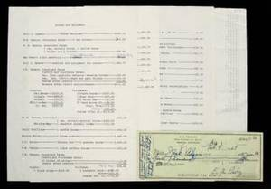 ELVIS PRESLEY SIGNED CHECK FOR DOWN PAYMENT ON CIRCLE G RANCH