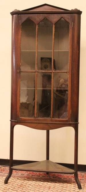 19th C Mahogany Corner Cupboard w individually mullio