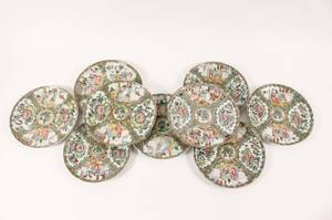 Group of 9 Chinese Rose Medallion Plates