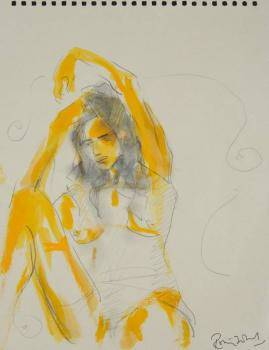 RONNIE WOOD SKETCH OF A SEATED FEMALE NUDE