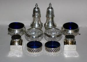 105 GROUP OF FIVE PAIRS OF SS SHAKERS AND OPEN SALTS