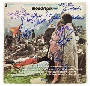 WOODSTOCK PERFORMERS SIGNED ALBUM COVER