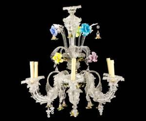 Italian Venetian Glass 6Light Tiered Chandelier