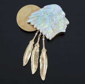 LONI ANDERSON OPAL AND DIAMOND INDIAN HEAD BROOCH