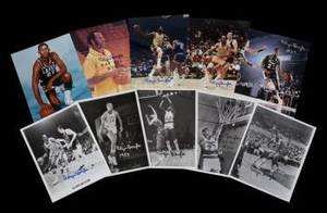 ELGIN BAYLOR GROUP OF 10 SIGNED PHOTOGRAPHS