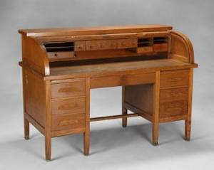 SLASH VICTORIAN OAK ROLLTOP CSCROLL DESK