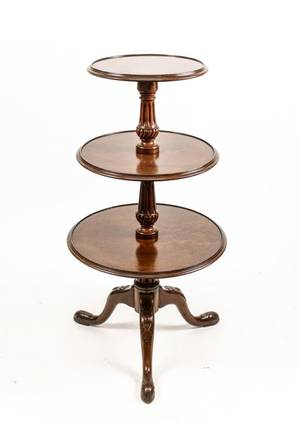 Queen Anne Style 3 Tiered Mahogany Dumb Waiter