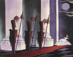 A WALT DISNEY ORIGINAL CONCEPT PAINTING BY MARY BLAIR FROM CINDERELLA
