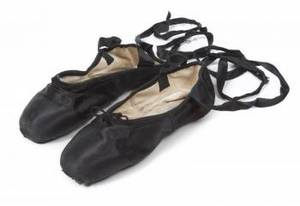 CYD CHARISSE BLACK SATIN BALLET SLIPPERS