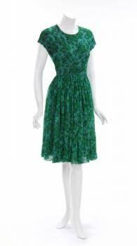 ELIZABETH TAYLOR FLORAL SILK CHIFFON DRESS