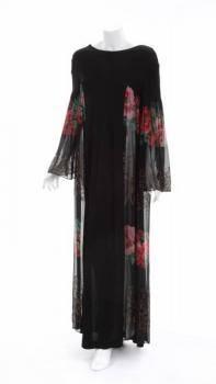 ELIZABETH TAYLOR BLACK SILK CAFTAN DRESS