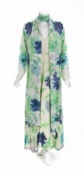 ELIZABETH TAYLOR FLORAL SILK CAFTAN DRESS