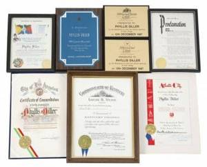PHYLLIS DILLER CITY PROCLAMATIONS AND CERTIFICATES